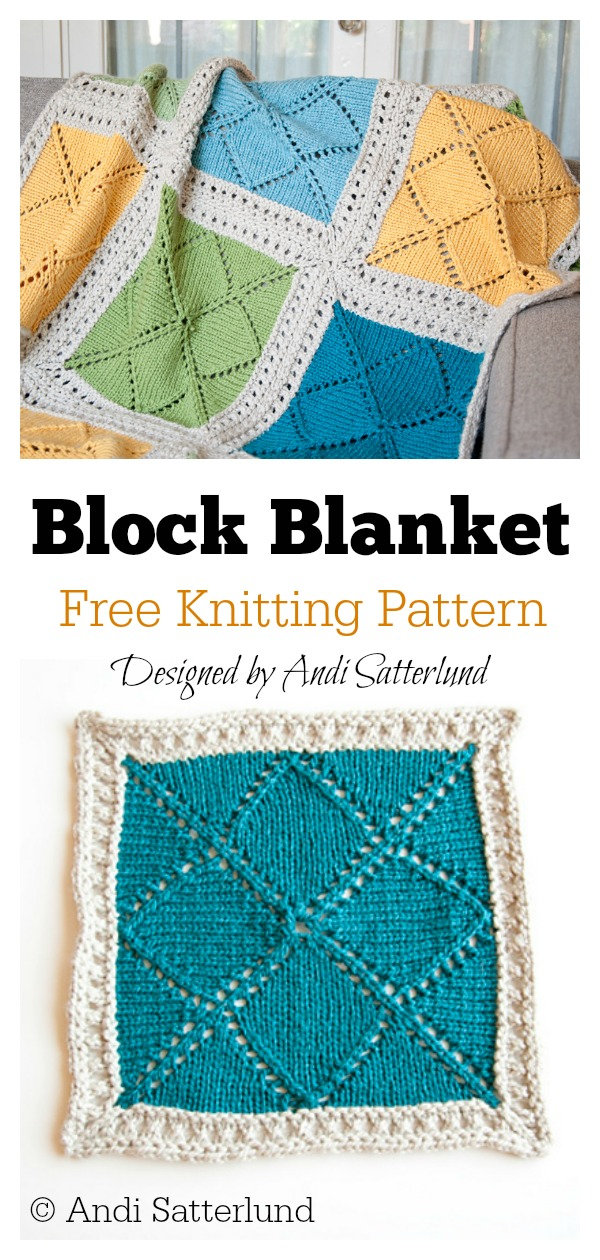 Lace Block Blanket Free Knitting Pattern #freeknittingpattern #lacepattern #grannysquare