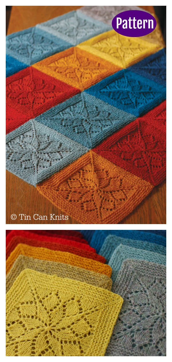 Lace Block Blanket Free Knitting Pattern & Paid #knittingpattern #rainbowblanket #laceknitting