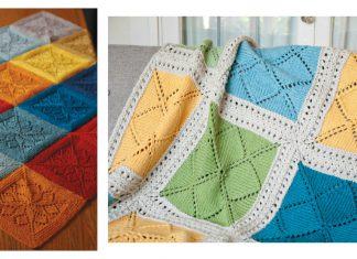 Lace Block Blanket Free Knitting Pattern & Paid