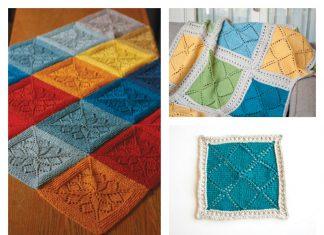 Lace Block Blanket Free Knitting Pattern & Paid