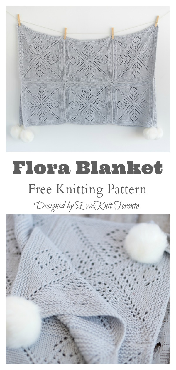 Lace Block Flora Blanket Free Knitting Pattern