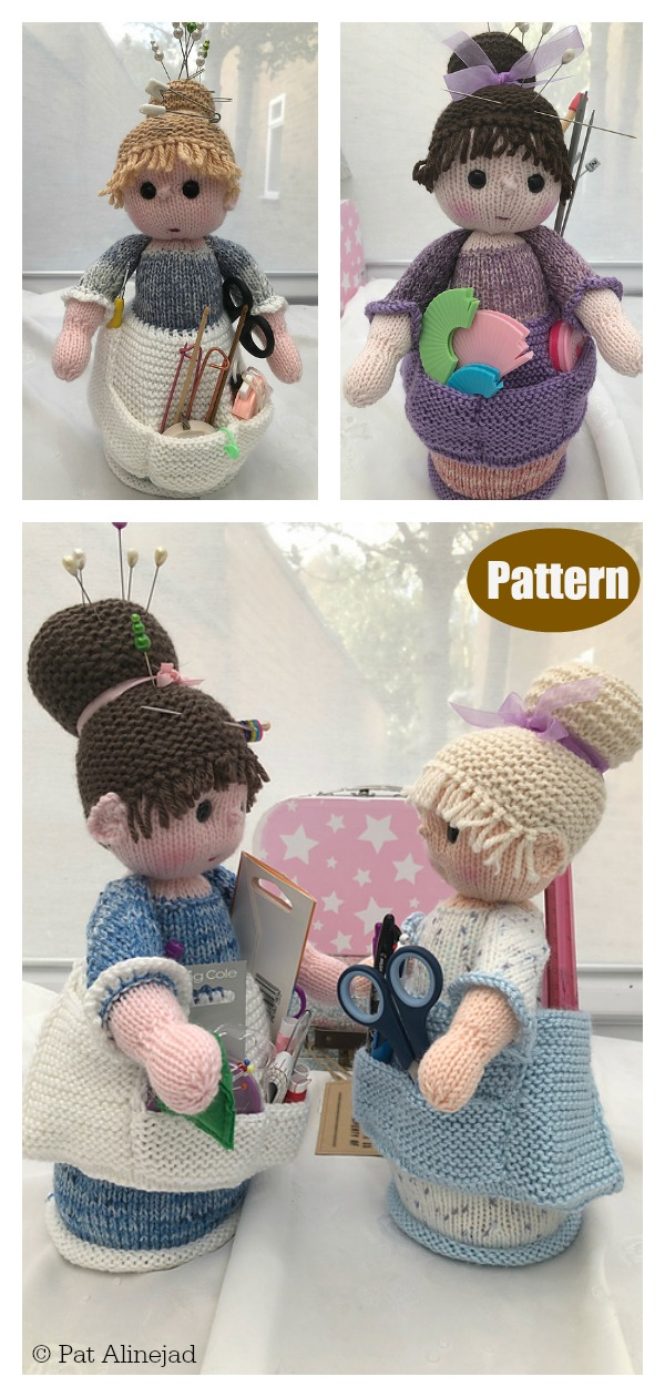 Miss Tilly Tidy Doll Pincushion Knitting Pattern