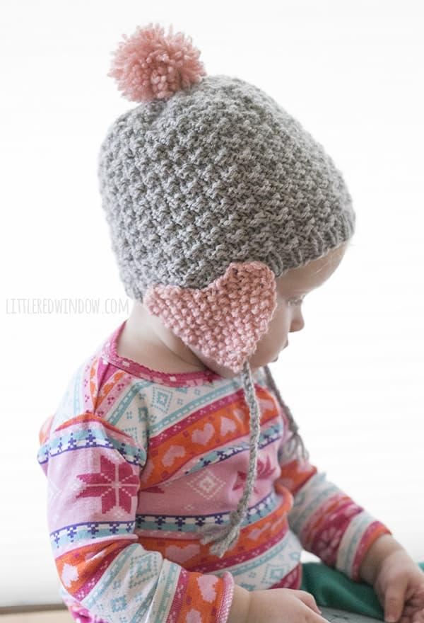 Valentine Heart Earflap Hat Free Knitting Pattern