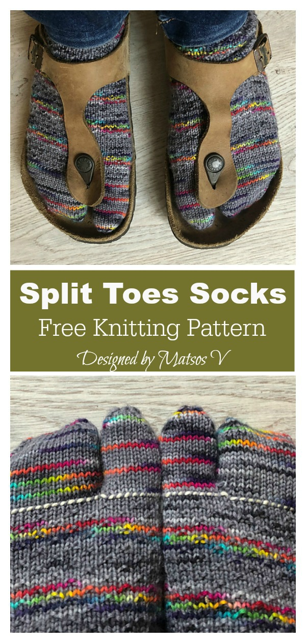 Split Toes Socks Free Knitting Pattern