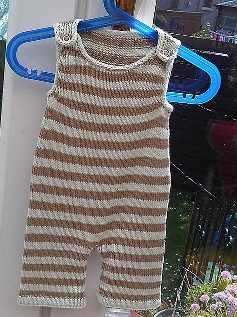Stripey Baby Dungarees Free Knitting Pattern