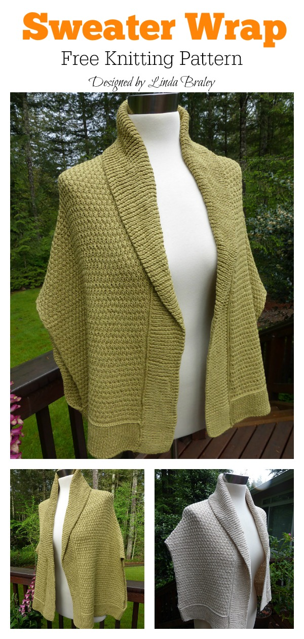 Collared Sweater Wrap Free Knitting Pattern