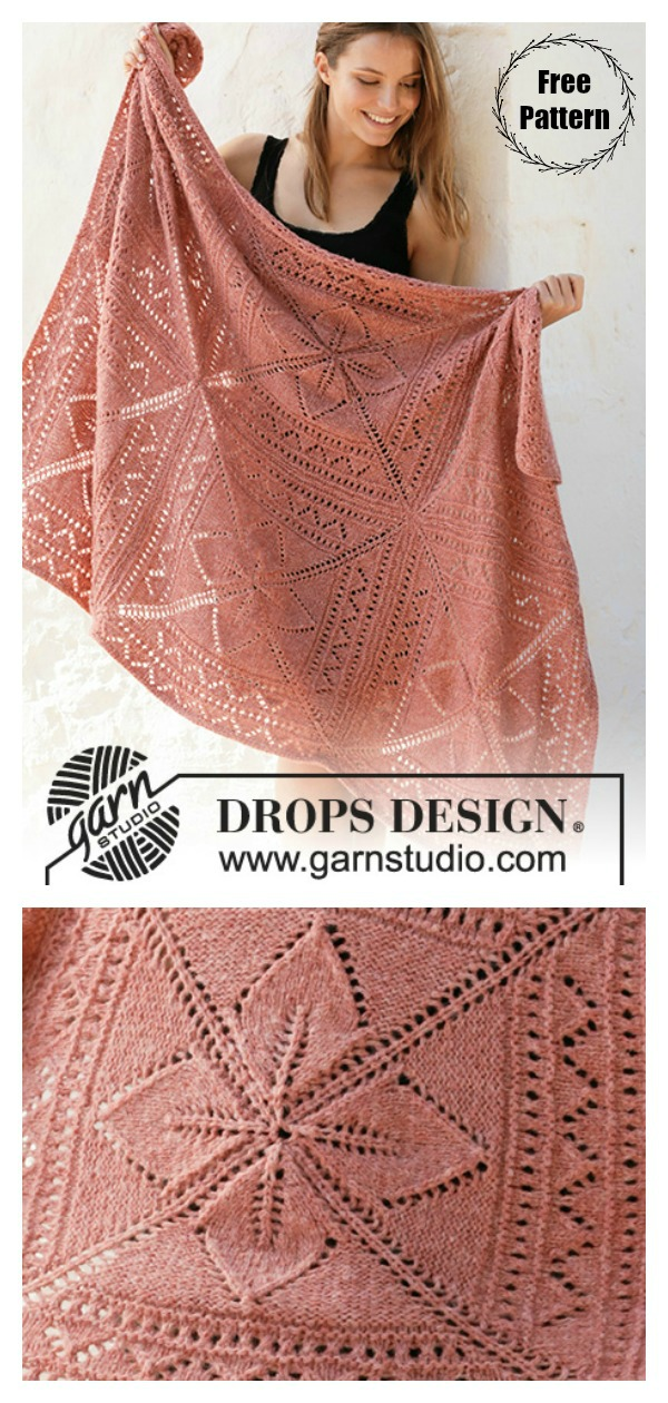 Sweet Nordic Rose Lace Block Blanket Free Knitting Pattern