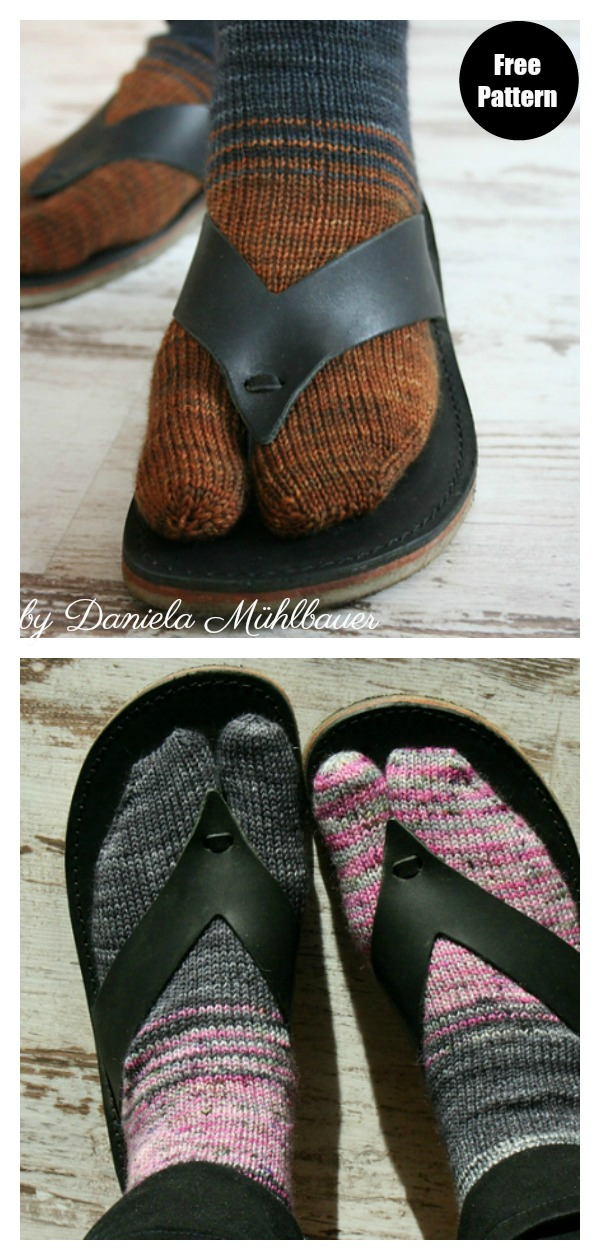 Tabi Toes Flip Flop Socks FREE Knitting Pattern