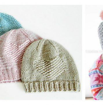 Valentine Heart Baby Hat Free Knitting Pattern