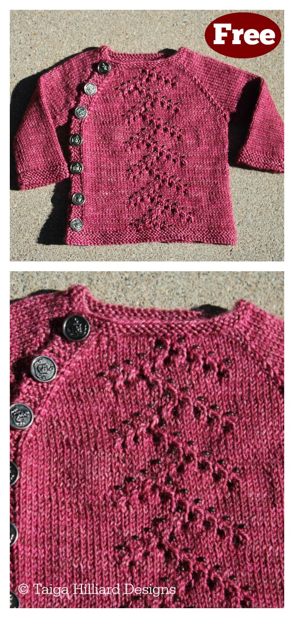 Wee Beaded Lace Baby Cardigan Free Knitting Pattern