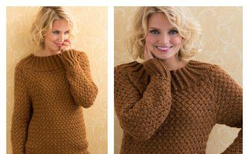 Aran Basket Stitch Sweater Free Knitting Pattern