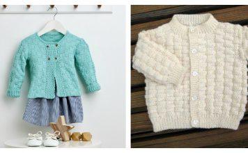 Basket Weave Baby Cardigan Free Knitting Pattern