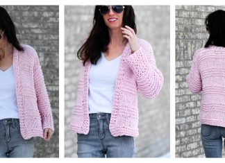 Cotton Candy Beginner Cardigan Free Knitting Pattern