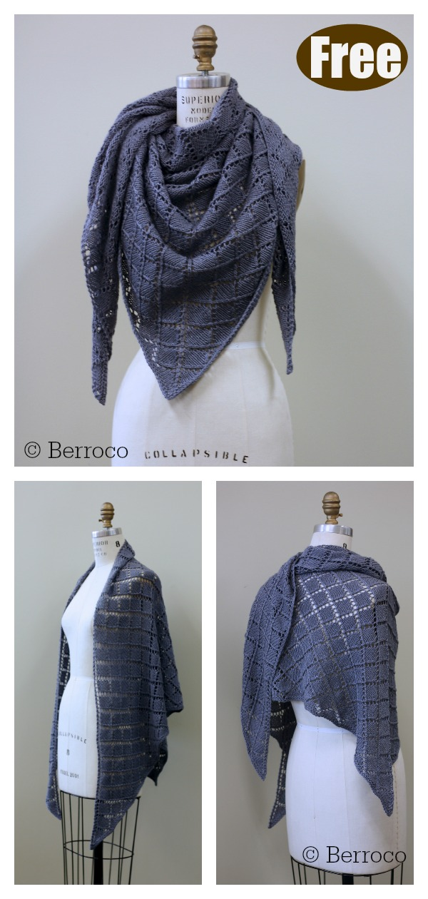 Diamond Lace Wrap Free Knitting Pattern