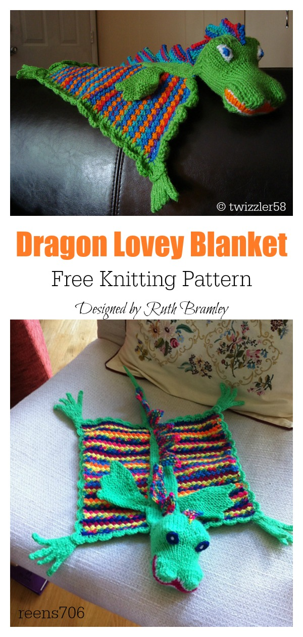 Dragon Lovey Blanket Free Knitting Pattern