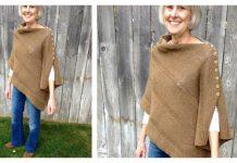 Easy Button Poncho Free Knitting Pattern
