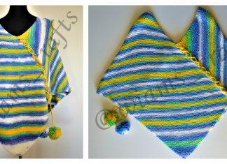 Easy Garter Stitch Poncho Free Knitting Pattern