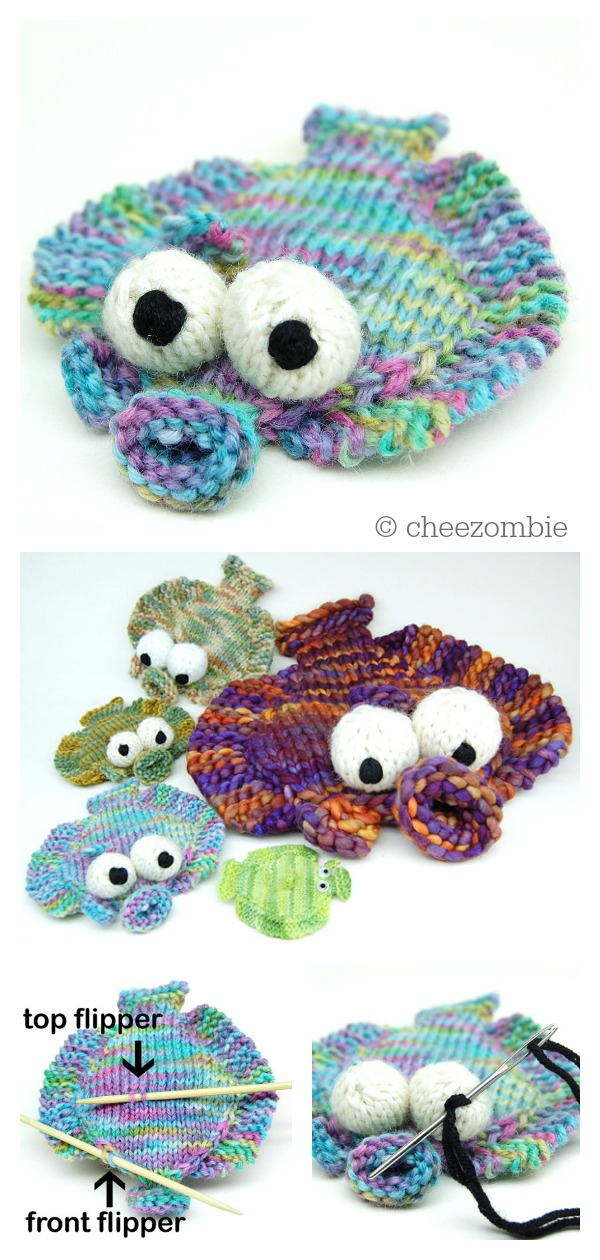 Flounder Fish Washcloth Free Knitting Pattern