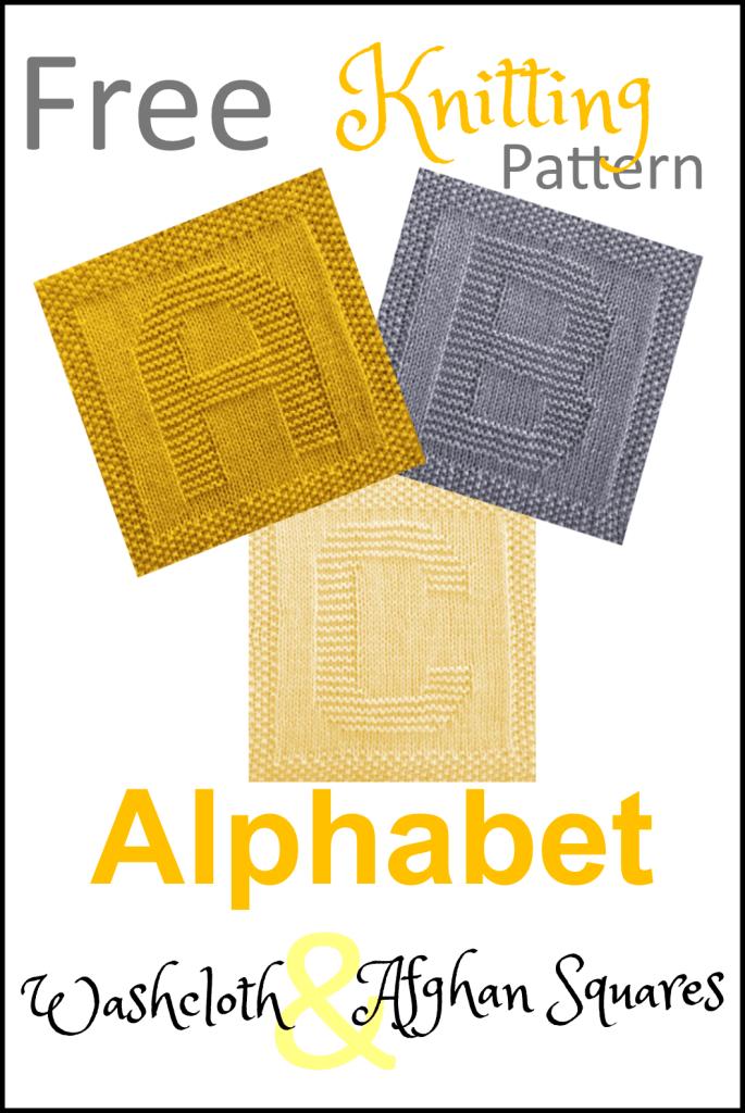 Alphabet Dishcloth or Afghan Squares Free Knitting Pattern