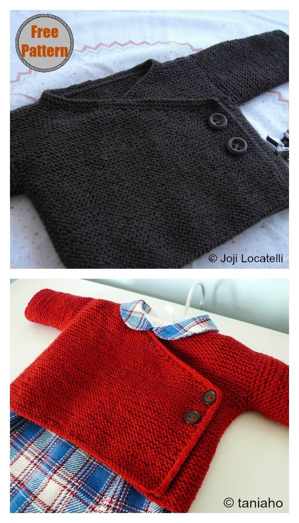 Garter Stitch Baby Kimono Free Knitting Pattern