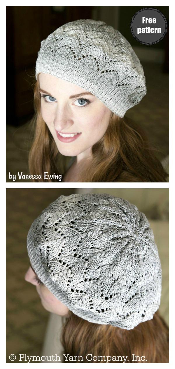 Lace Slouchy Beret Free Knitting Pattern