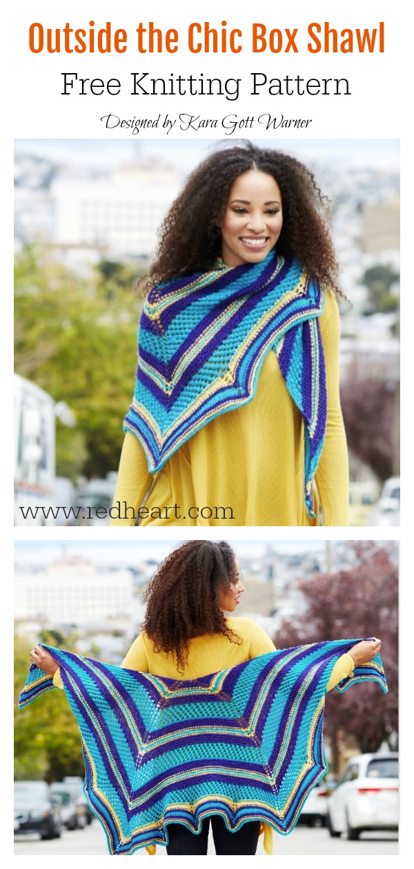 Outside the Chic Box Shawl Free Knitting Pattern
