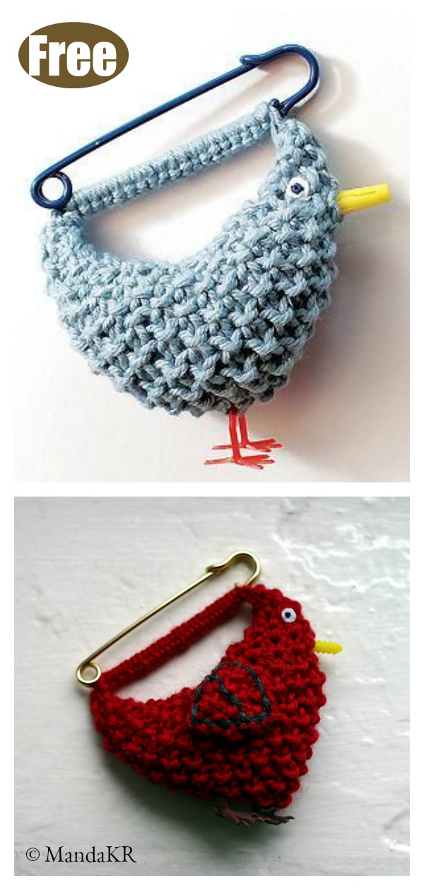 Bluebird Brooch Free Knitting Pattern