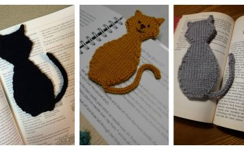 Cat Silhouette Bookmark Free Knitting Pattern
