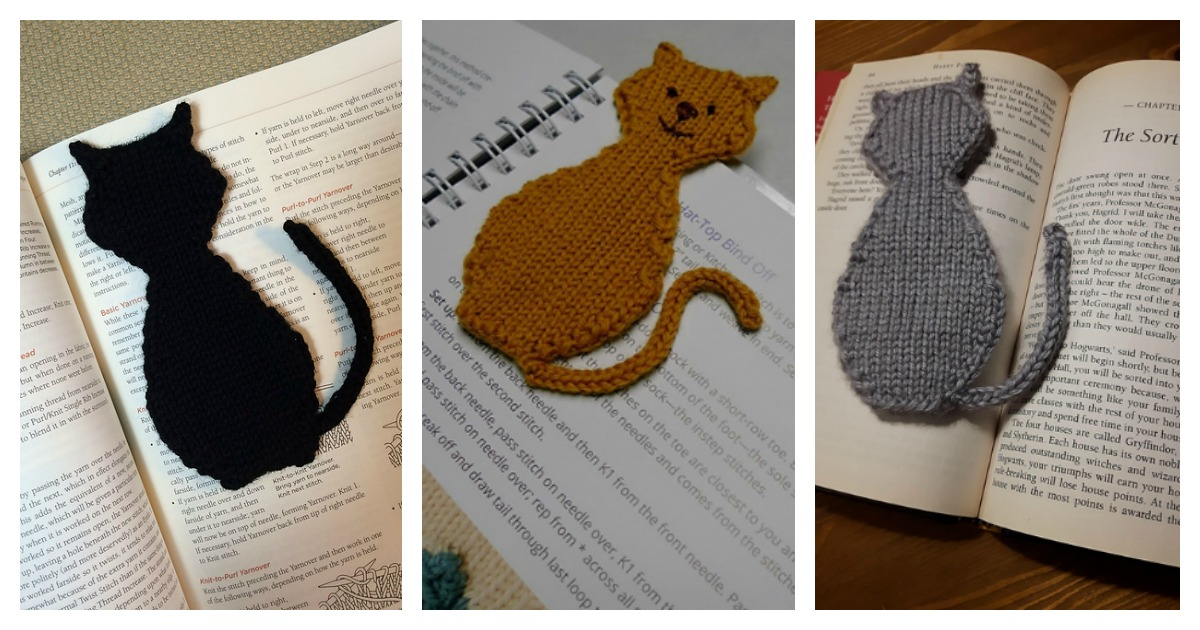 Cat Silhouette Bookmark Free Knitting Pattern