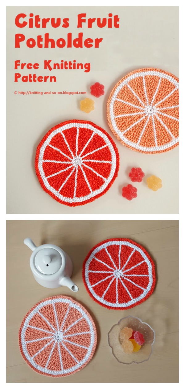 Citrus Fruit Potholder Free Knitting Pattern