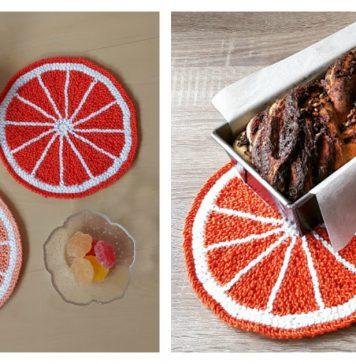 Citrus Fruit Potholder Free Knitting Pattern