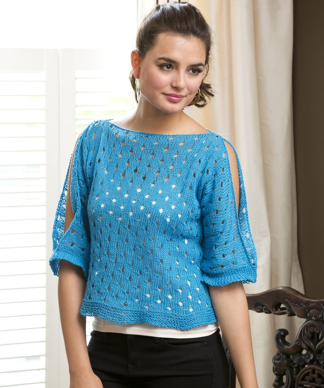 Cold Shoulder Pullover Sweater Free Knitting Pattern