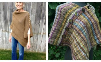 Easy Button Poncho Free Knitting Pattern