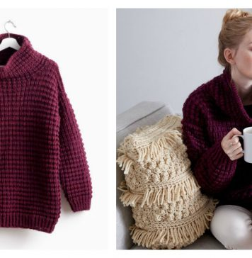 Easy Pullover Sweater Free Knitting Pattern and Video Tutorial