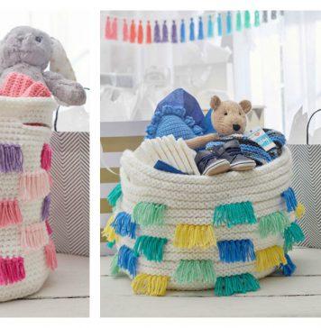 Fringed Basket Free Knitting Pattern
