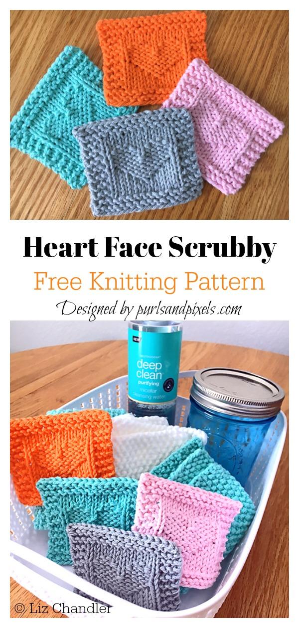 Heart Face Scrubby Free Knitting Pattern
