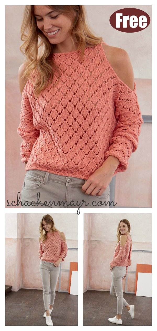 Lace Cold Shoulder Pullover Free Knitting Pattern