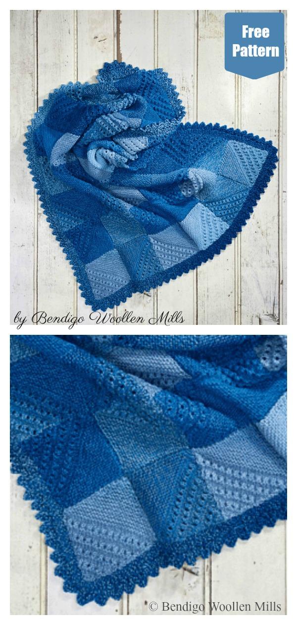 Mitred Blanket Free Knitting Pattern