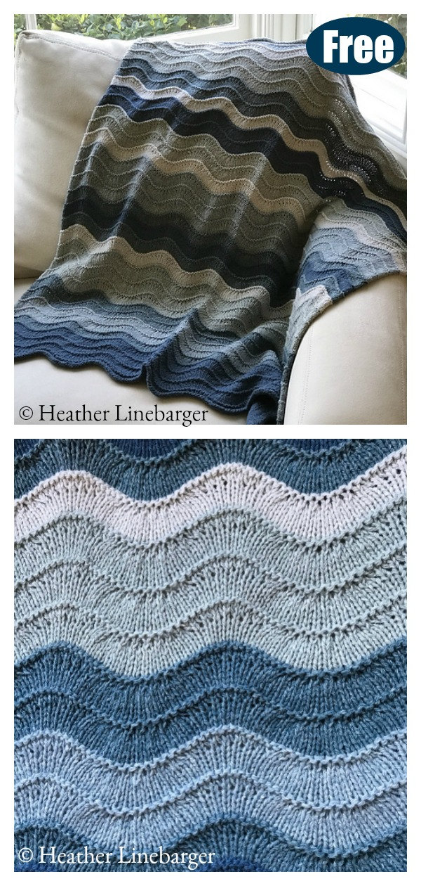Pescadero Waves Blanket Free Knitting Pattern #Startknittingfreepattern
