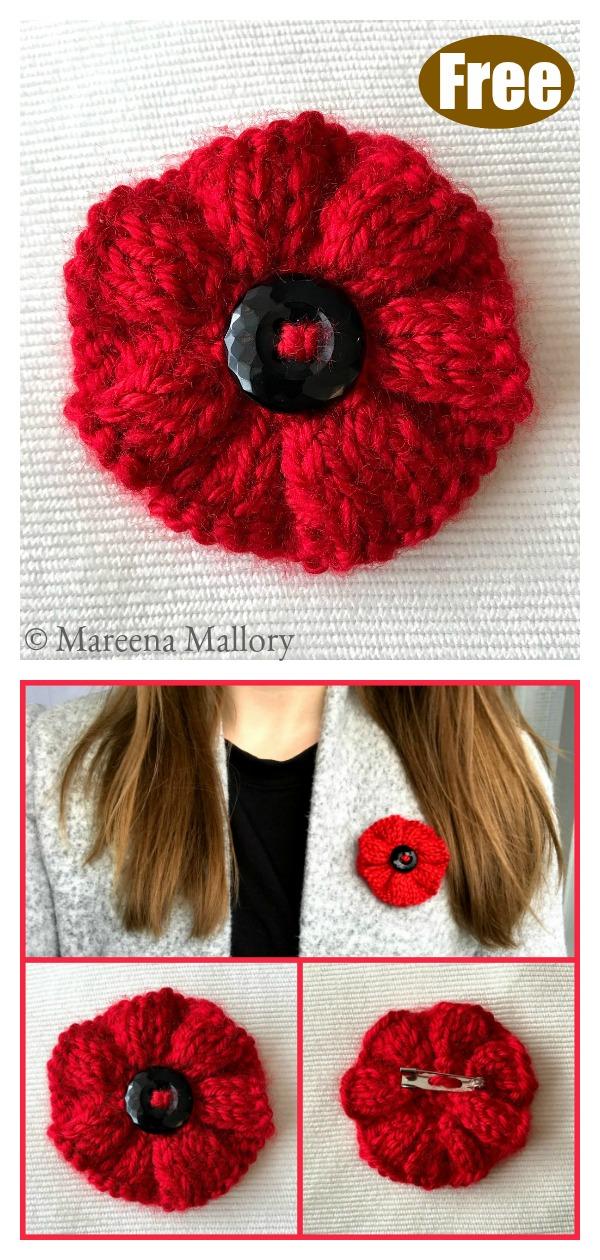 Ribbed Poppy Brooch Free Knitting Pattern
