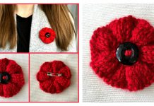 Ribbed Poppy Brooch Free Knitting Pattern