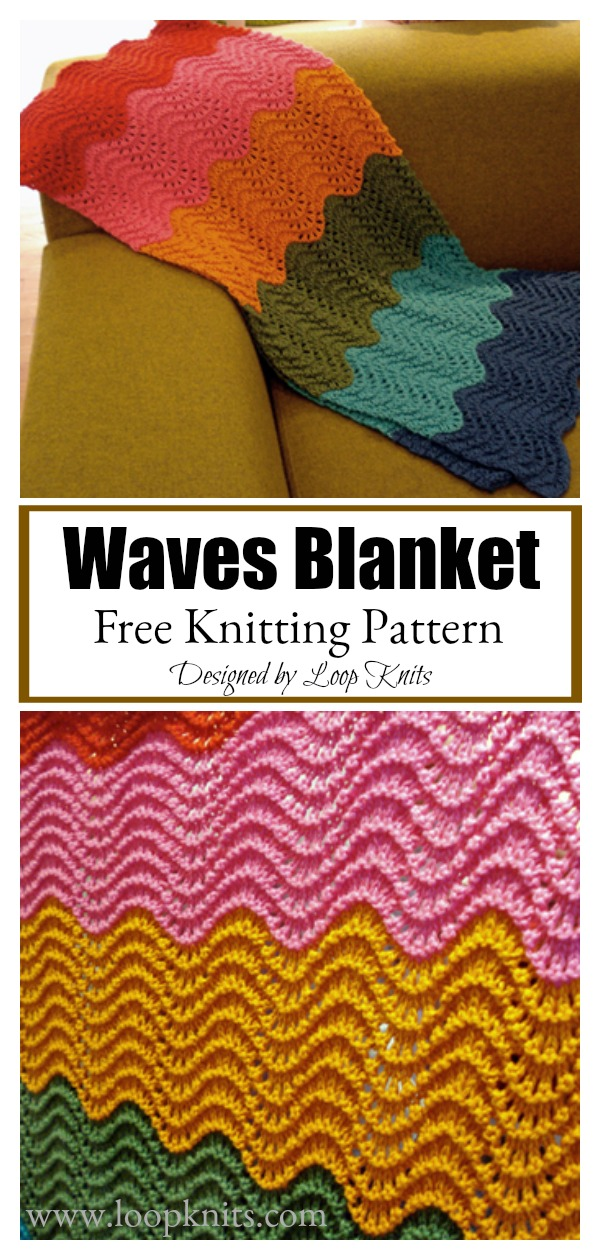 Waves Blanket Free Knitting Pattern