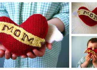 Winged Heart Pillow Softie Free Knitting Pattern