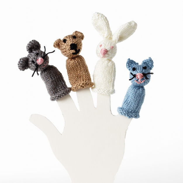 Bear Bunny Cat Mouse Finger Puppets free Knitting Pattern