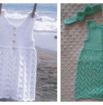 Beach Baby Dress and Hat FREE Knitting Pattern