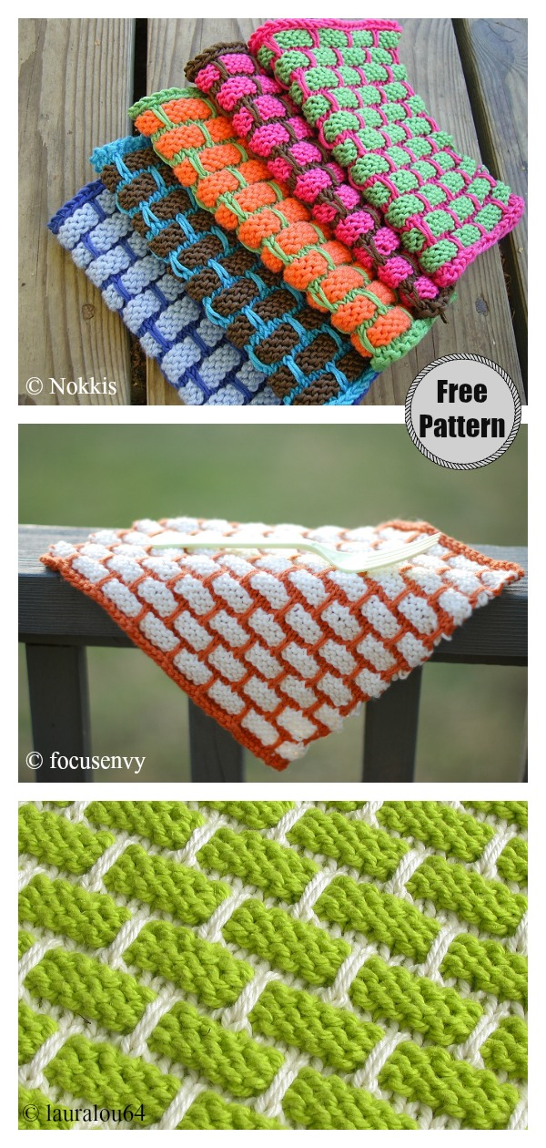 Brick Stitch Ballband Dishcloth Free Knitting Pattern