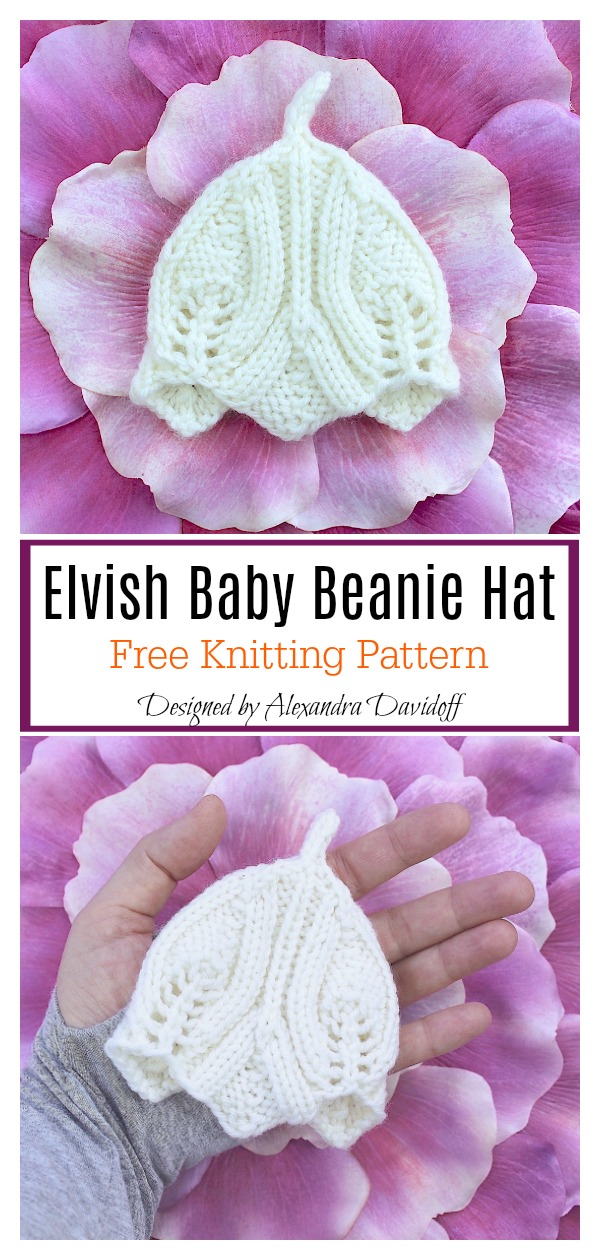 Elvish Baby Beanie Hat Free Knitting Pattern