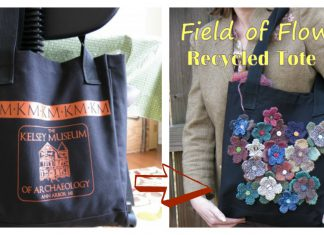 Field of Flowers Recycled Tote Bag Free Knitting Pattern