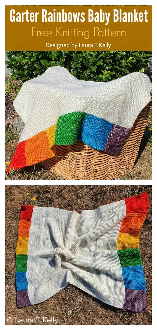 Garter Rainbows Baby Blanket Free Knitting Pattern