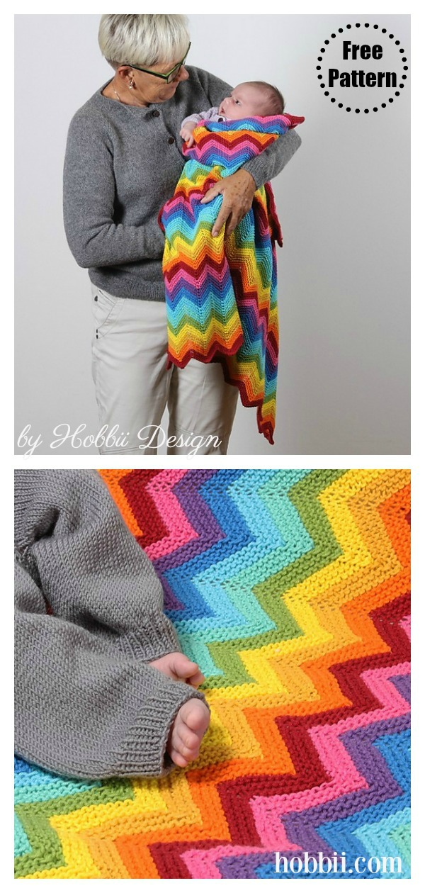 Garter Stitch Super Rainbow Swaddle Blanket Free Knitting Pattern